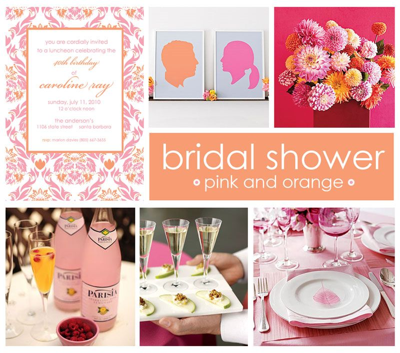 pink and orange bridal shower ideas