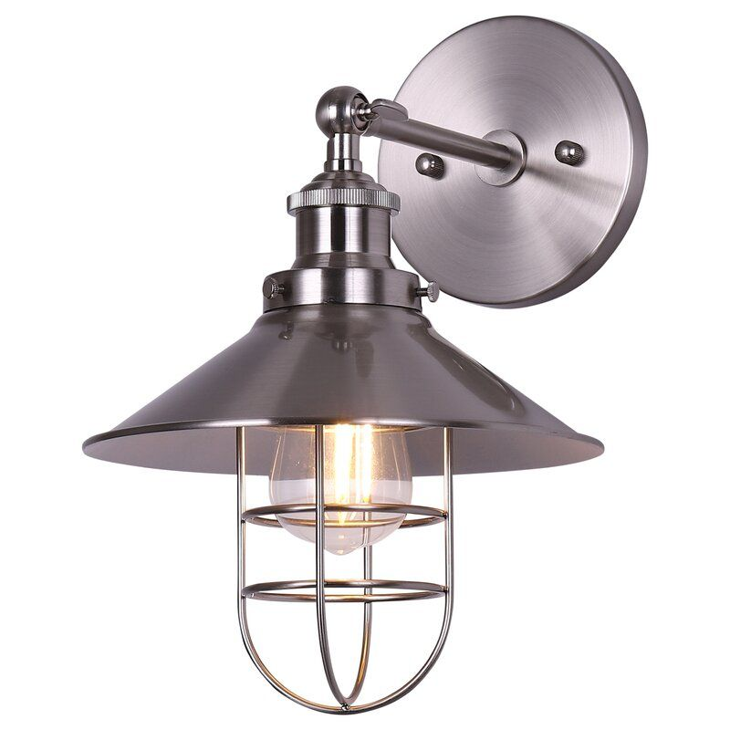 Sikes 1 Light Dimmable Armed Sconce In 2020 Wall Mount Light Fixture Wall Mounted Light Wall Sconces