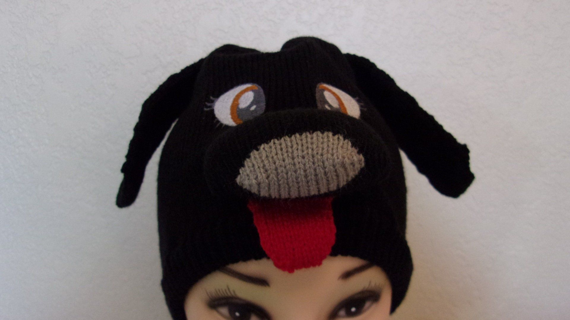9509d3daf4c Dog hat puppy beanie black doggy skull cap 3D animal hat