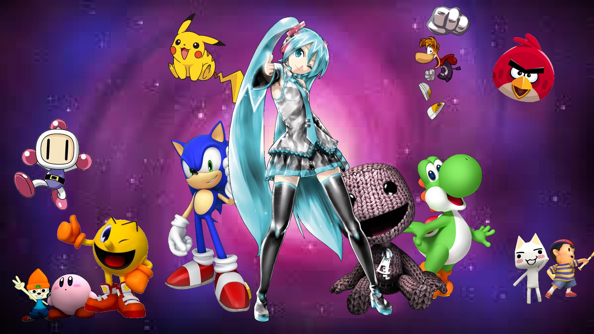 Hatsune Miku, Sonic, Pikachu, Rayman, Pacman, Kirby, etc