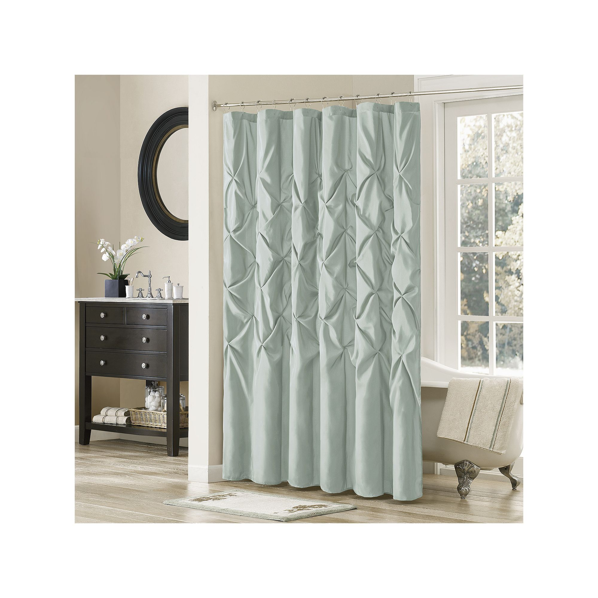 Madison Park Vivian Tufted Shower Curtain Blue 72x72 Curtains
