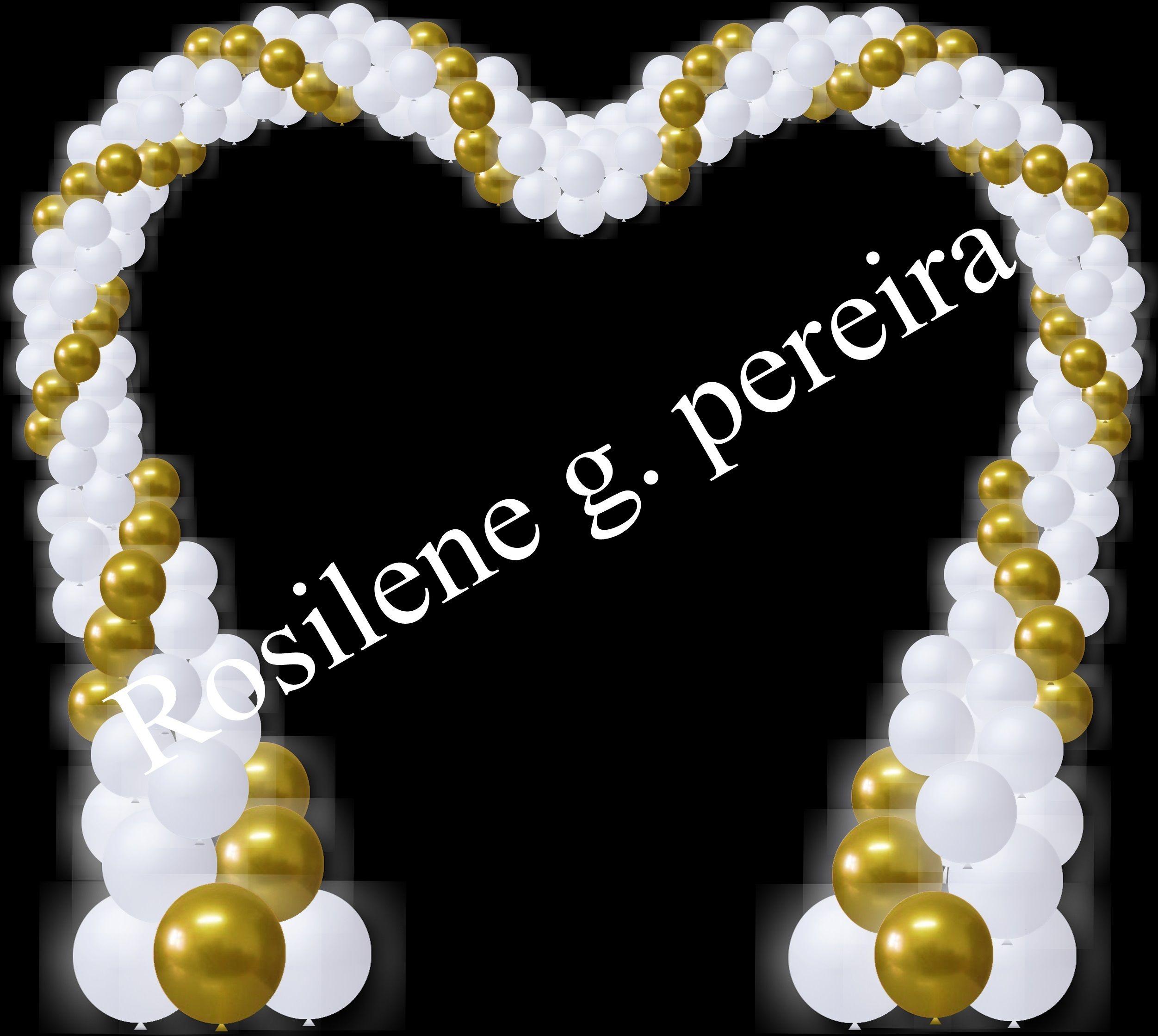 Projeto de balões para casamento ou noivado - arco coração com dourado