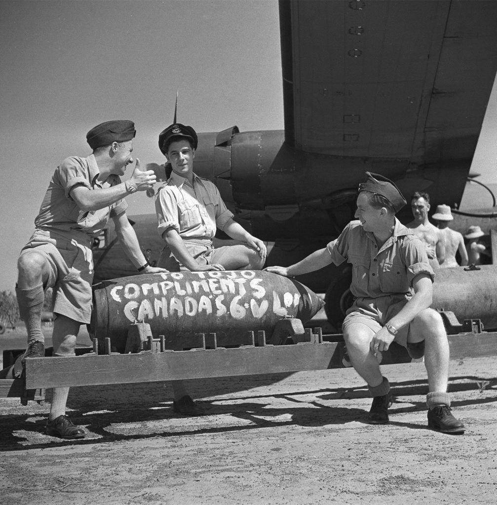 """""""To Tojo, compliments Canada"""" written on a bomb with Canadian aircrew circa WWII [2013x2048]history-museum.tumblr.com"""