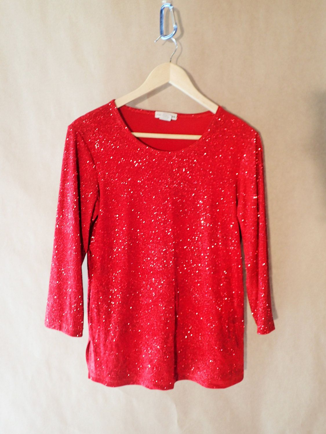 4c43b26310ad0 Vintage Red Shiny Sparkly Glitter Womens Top Shirt Notations - Christmas  Holiday Long Sleeved Blouse- Ugly Sweater Party by DOINGITSOBER on Etsy