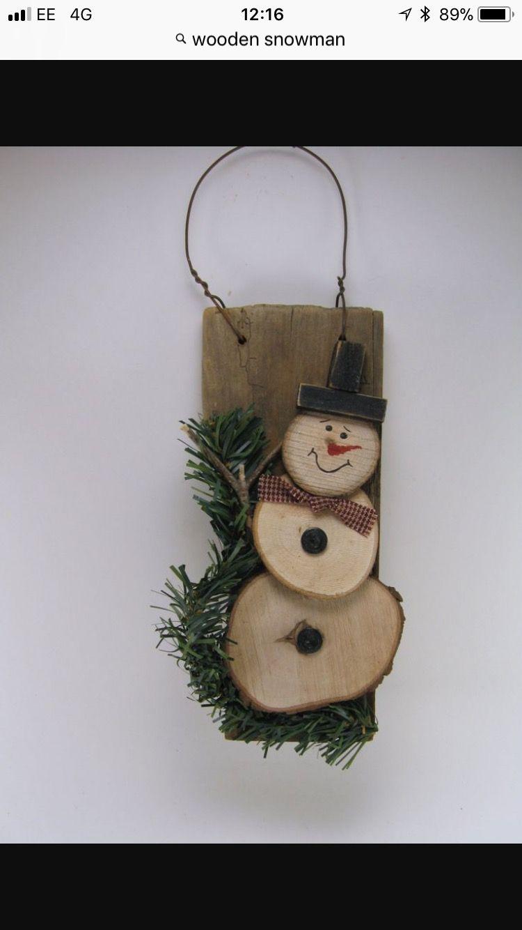 Regali Di Natale In Legno Fai Da Te.Bonhome De Neige Artigianato In Legno Natalizio Ornamento