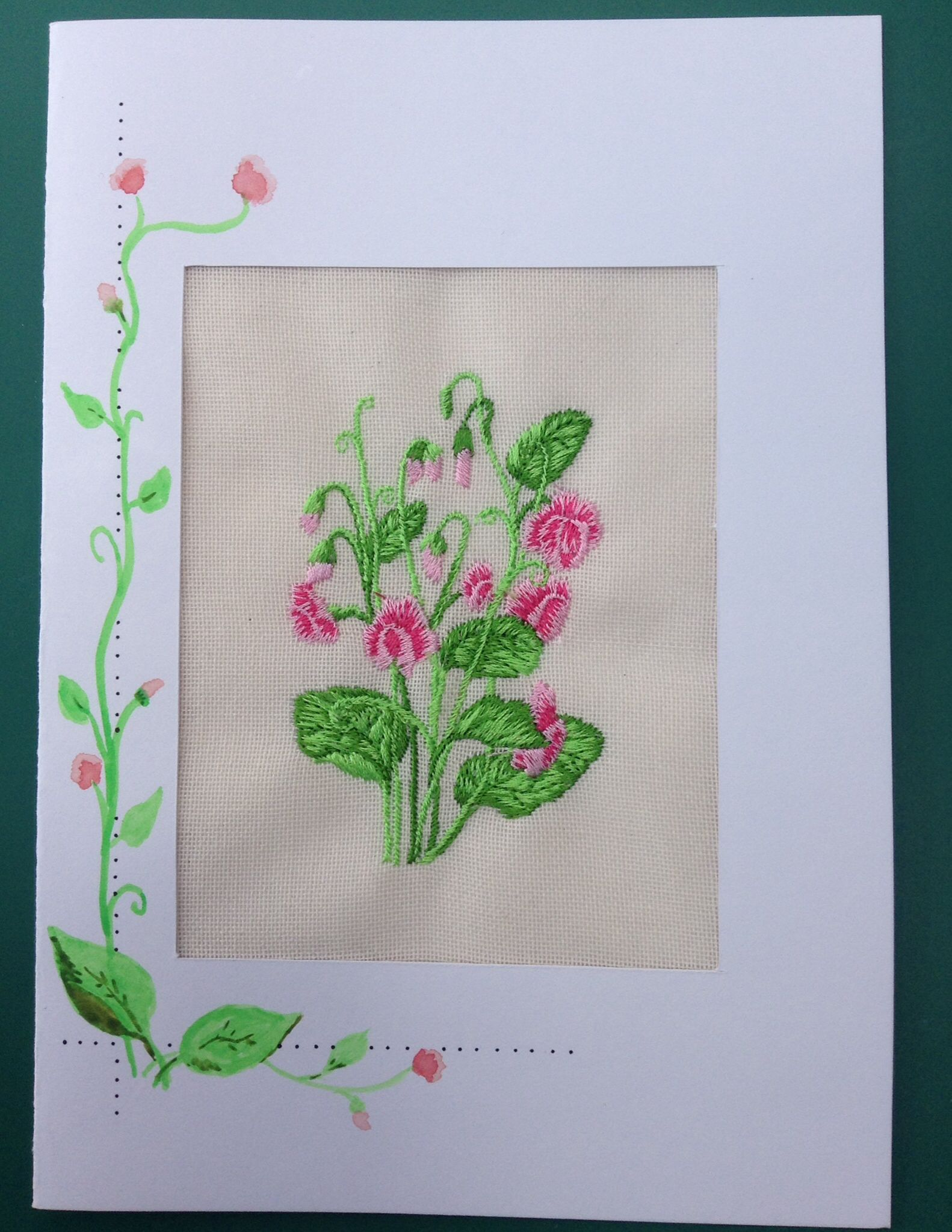 Embroidered and hand painted card by Crafts at Fox Cottage