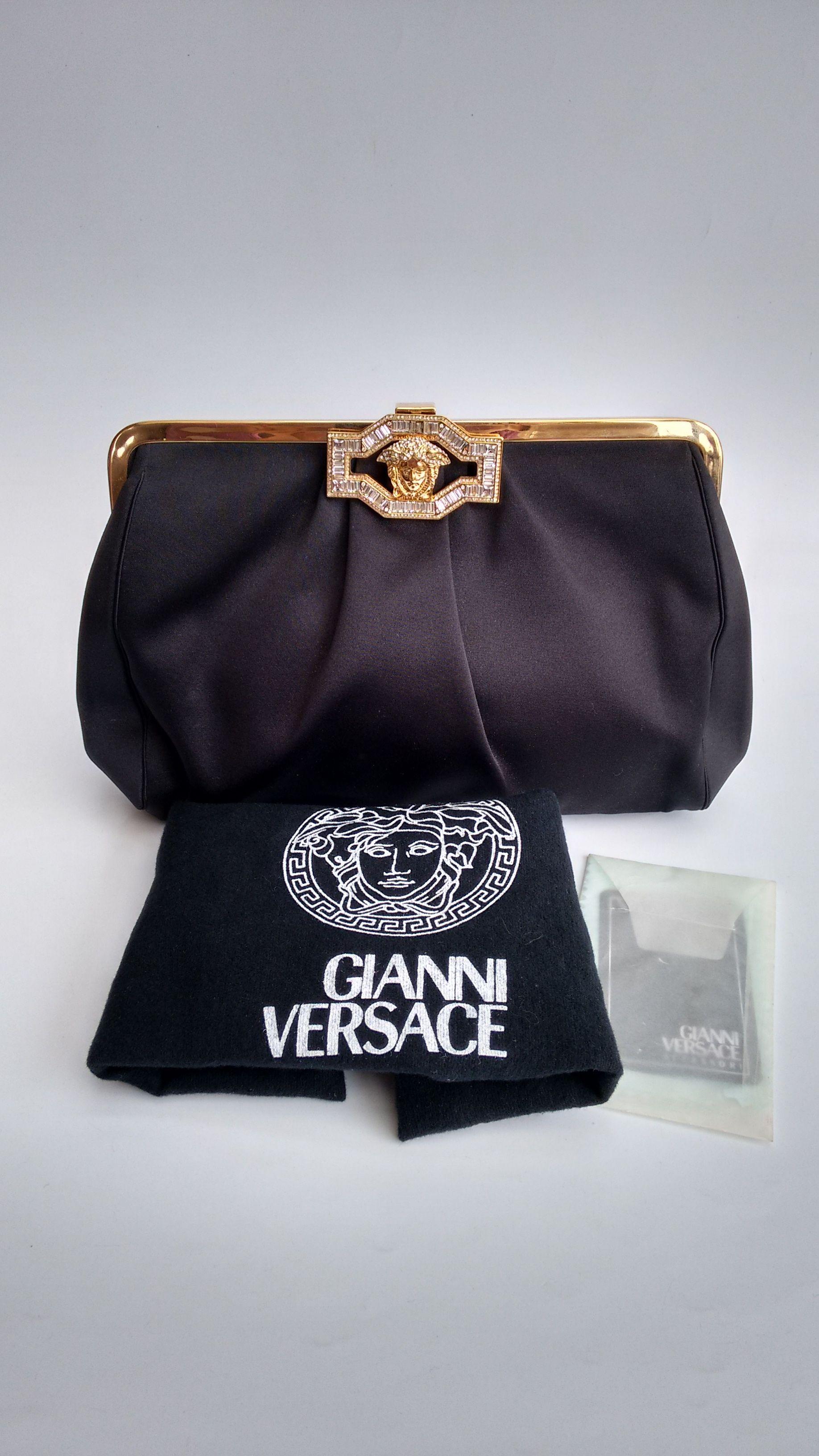 Versace Bag Gianni Versace Vintage Black Clutch Bag Italian Designer Purse Versace Bag Gianni Versace Evening Clutch Bag