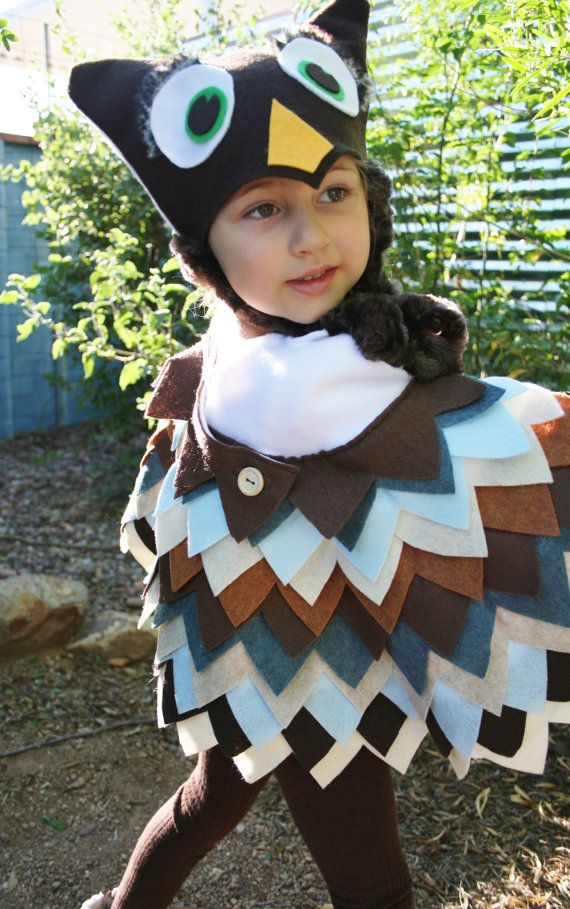 Owl Costume in Blue  Brown Colors- Imagination Play- Dress Up - halloween costume ideas toddler