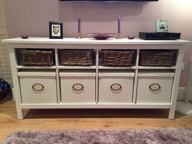 Ikea Hemnes Console Table With Matching Storage Boxesbaskets For ... | Hemnes, Ikea Hemnes, Ikea Console Table