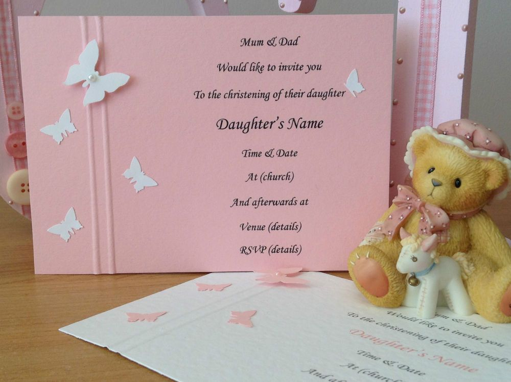 10 Handmade Christening Invitations Butterflies Boy Girl Twins Pink - sample baptismal invitation for twins