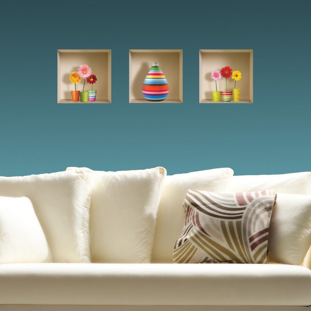 New Set 3 Pcs Wall Stickers 3D Art Room Picture Removable Home Decor ...