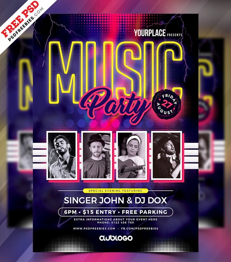 free music party psd flyer template