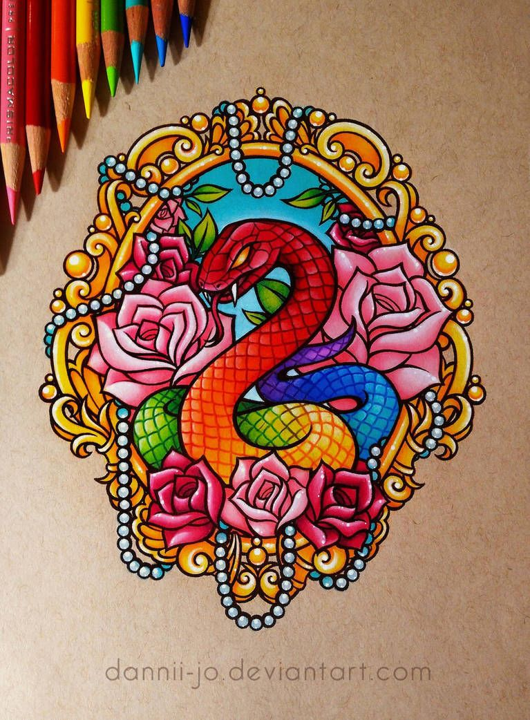 Snake And Roses Commission By Dannii Jo Color Pencil