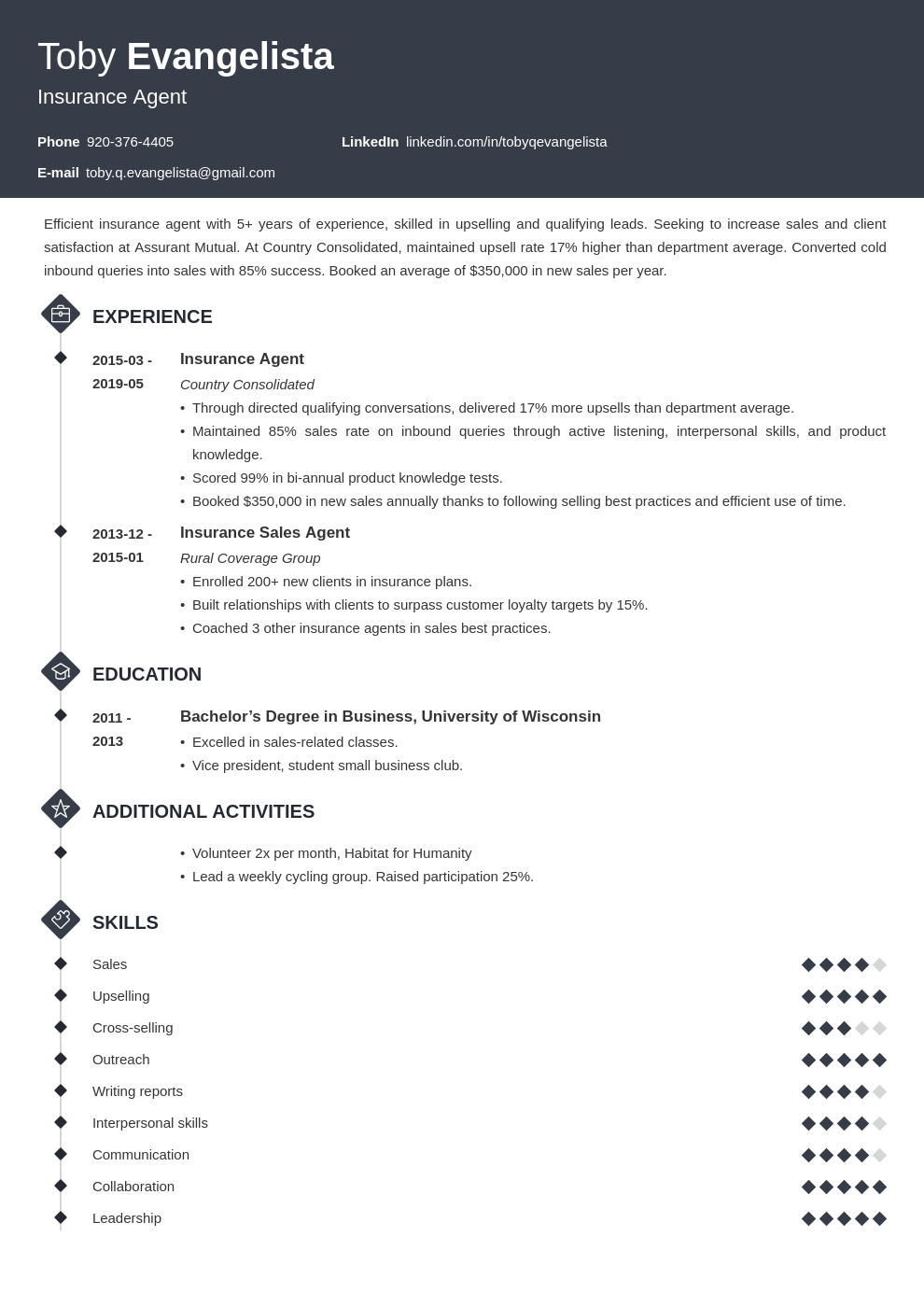 insurance agent resume example template diamond in 2020 ...