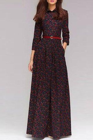 Chic Shirt Collar 3/4 Sleeve Tiny Floral Print Women's Maxi Dress