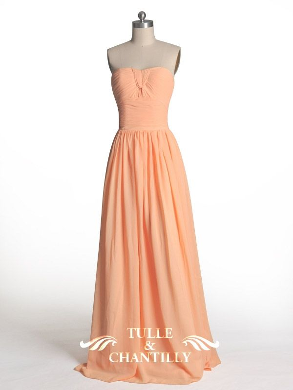 Pretty Peach Chiffon Bridesmaids Dress TBQF179 | Chiffon bridesmaid ...