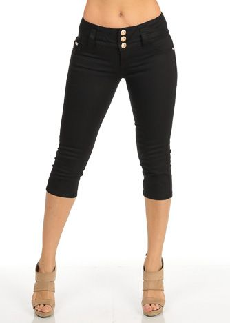 Black Twill Women's Juniors Shorts Capris | my fashion style ...