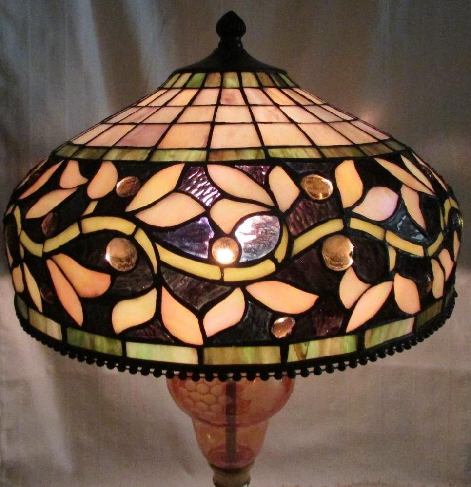 Lovely vintage tiffany style leaded glass lamp shade 13 12 wide lovely vintage tiffany style leaded glass lamp shade 13 12 wide jeweled insets aloadofball Gallery