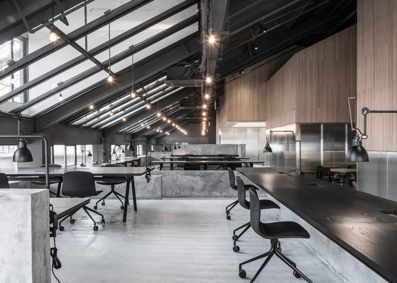 Flamingo Shanghai Offices By Neri Amp Hu Contain Meeting Rooms In Pitched Roof Pods Neri And Hu Office Interior Design Design