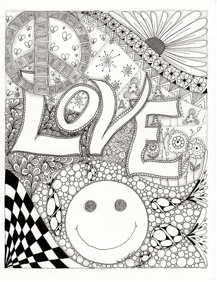 coloring pages peace love - photo#32