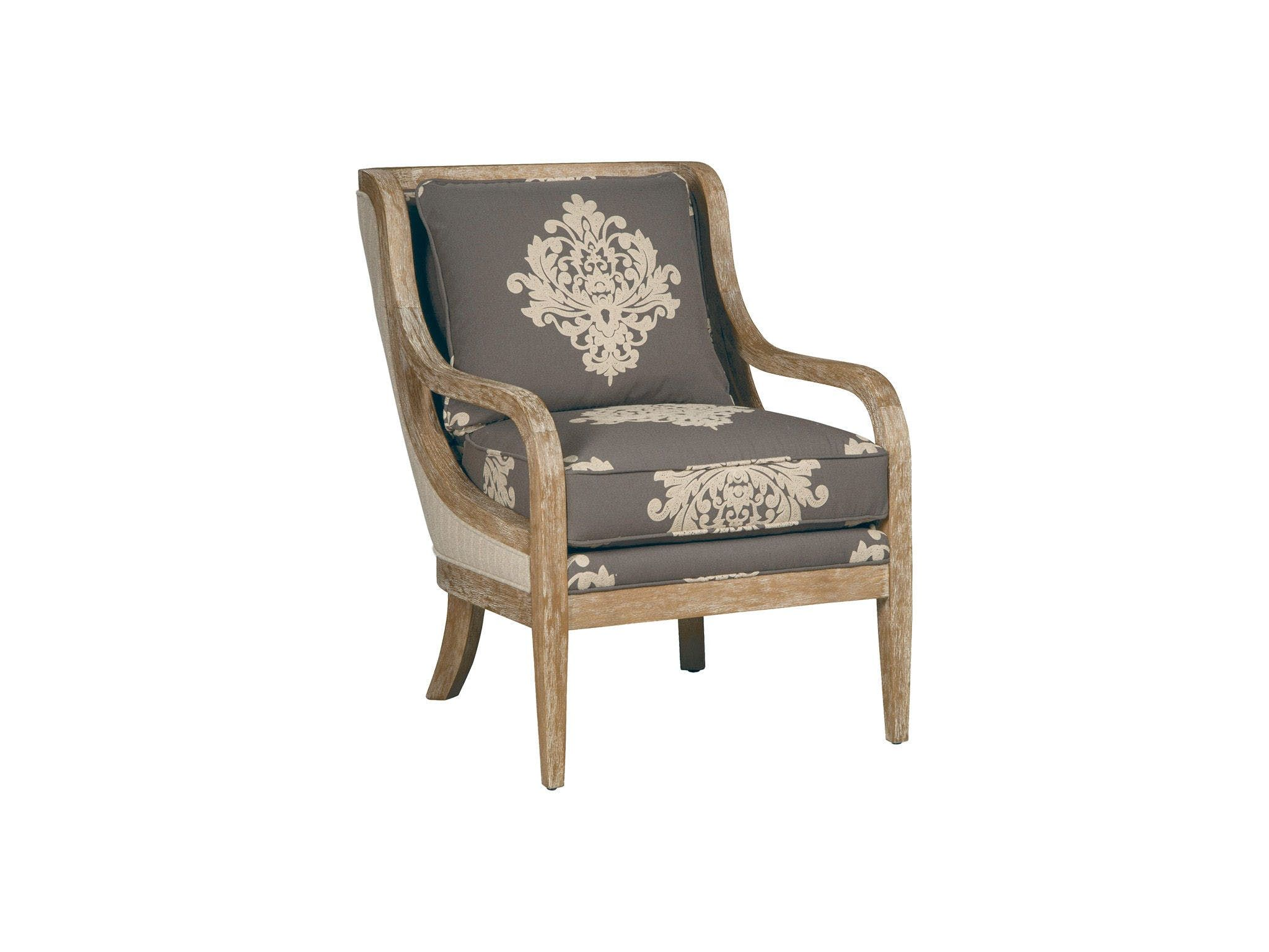 The rich wood detailing on this elegant chair speaks for