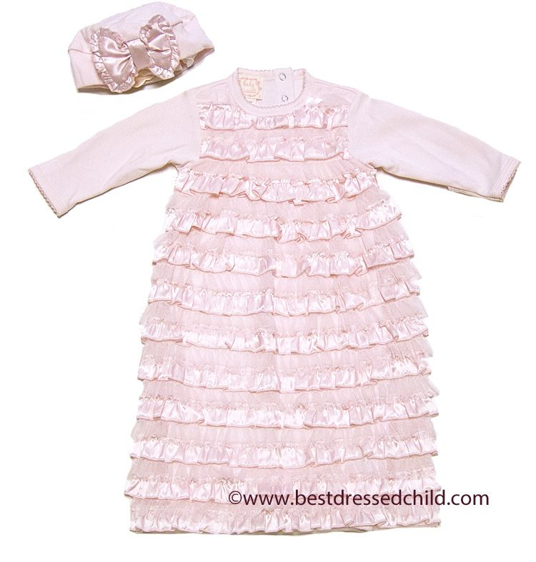 Biscotti Baby-Girls Christening Gown and Bonnet Voile