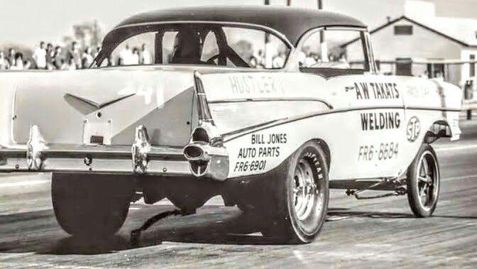 Unknown 57 Chevy Altered  Look at that friggin' wheelie bar