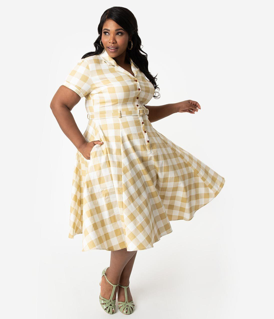 5d293f035add1 Collectif Plus Size 1950s Beige & Ivory Gingham Check Caterina Swing D – Unique  Vintage