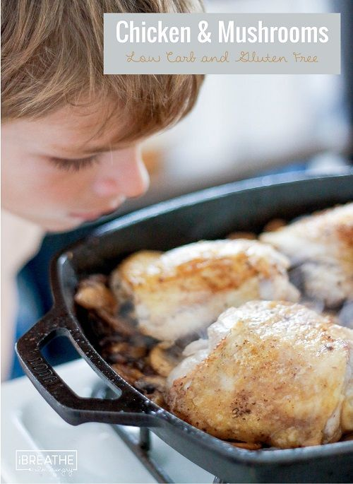This Skillet Chicken & Mushrooms recipe is low carb, gluten free, and a huge hit at our house every time!