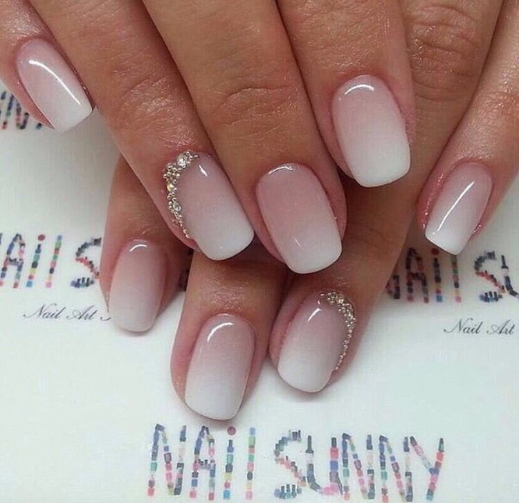 White Pink Ombre Bridal Nails Elegant Bridal Nails Bride Nails Bridal Nails