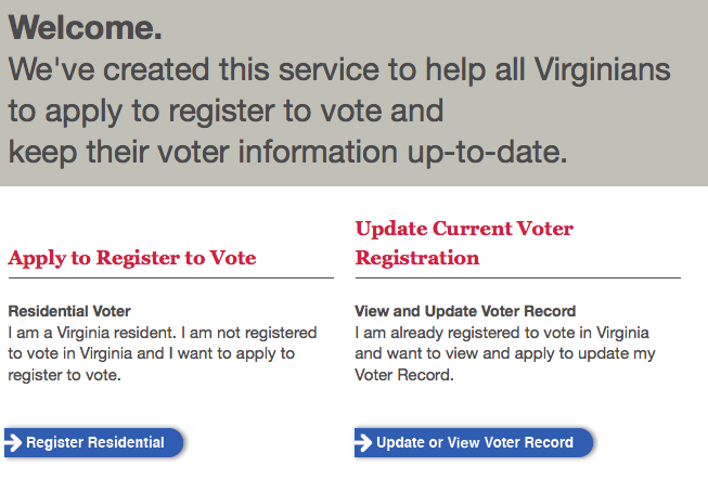 Virginians may now register to vote or update their