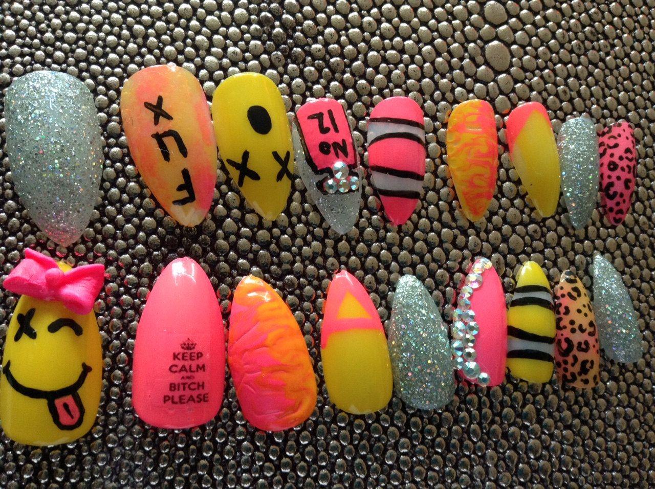 Colorful, press on nails,fake nails, pink,reusable nails, fun nails ...