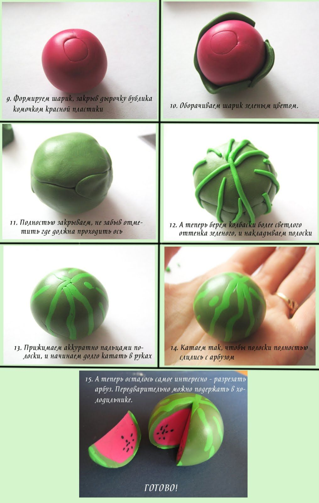 Watermelon made out of fondant ---------this would be such a cute polymer clay charm or necklace