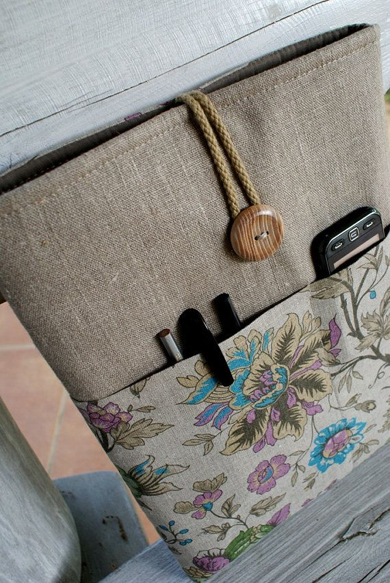 Laptop sleeve Case Cover for 13 inch/ pockets/ linen by