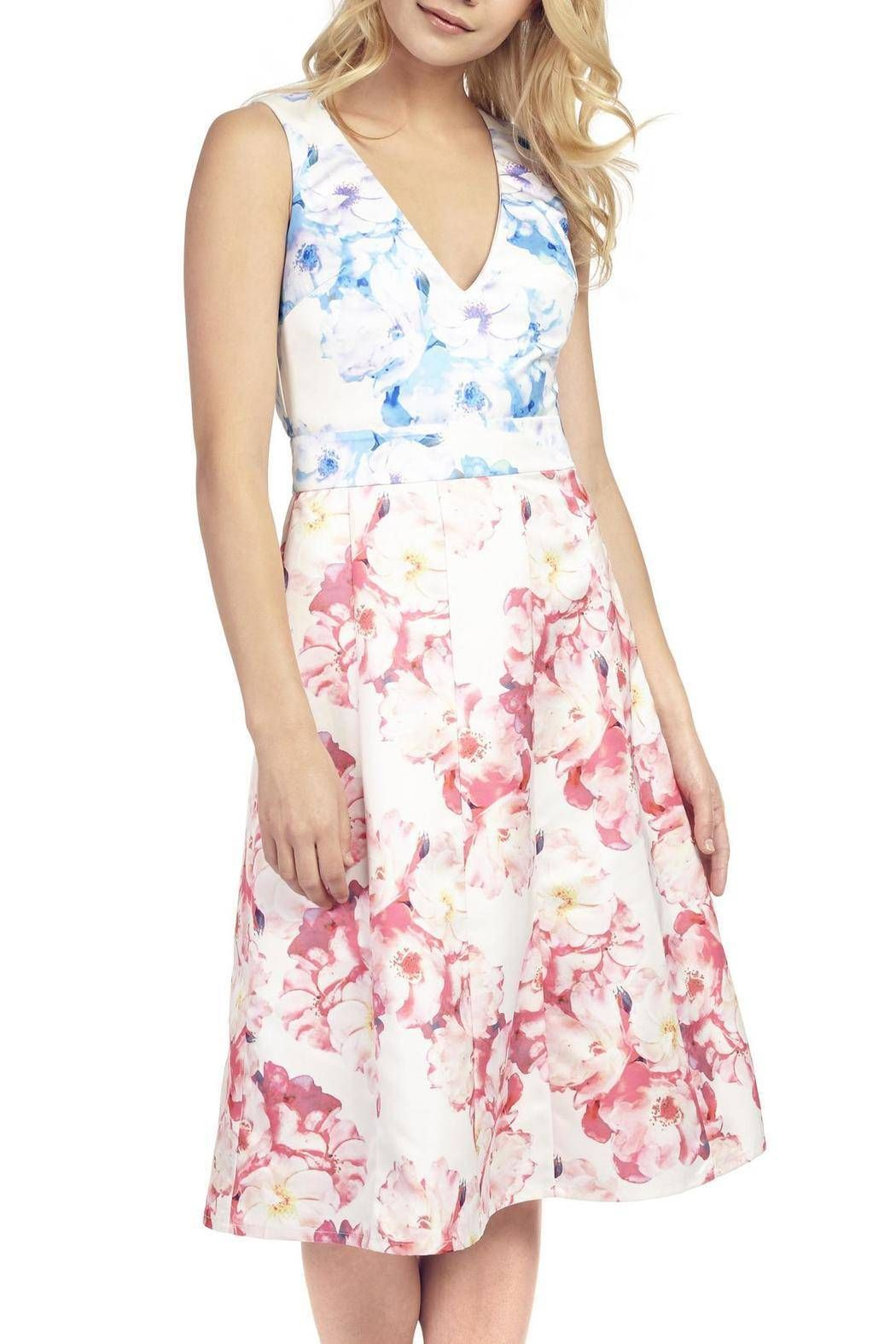 The Blue & Peach Floral Dress is made from contrasting watercolour prints on a thick, matt fabric. The low V neckline, cheeky back cut out and mid length A-line skirt make this a perfect dress for weddings, and summer parties. Mid length. Concealed zip fastening. Model is 5'8 and is wearing UK size 8. Thick, matt fabric. Hand wash. UK Sizing   Watercolour Flora Dress by Princess Angel Star. Clothing - Dresses - Printed Clothing - Dresses - Wedding Wear Clothing - Dresses - Floral Clothing…