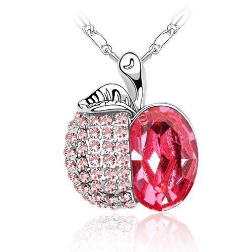 Contessa Bella Fancy Genuine 18k White Gold Plated Pink Swarovski Austrian Crystal Elements Beautiful Small Apple Women Charm Pendant Necklace Elegant Silver Color Crystal Fruit Fashion Jewelry