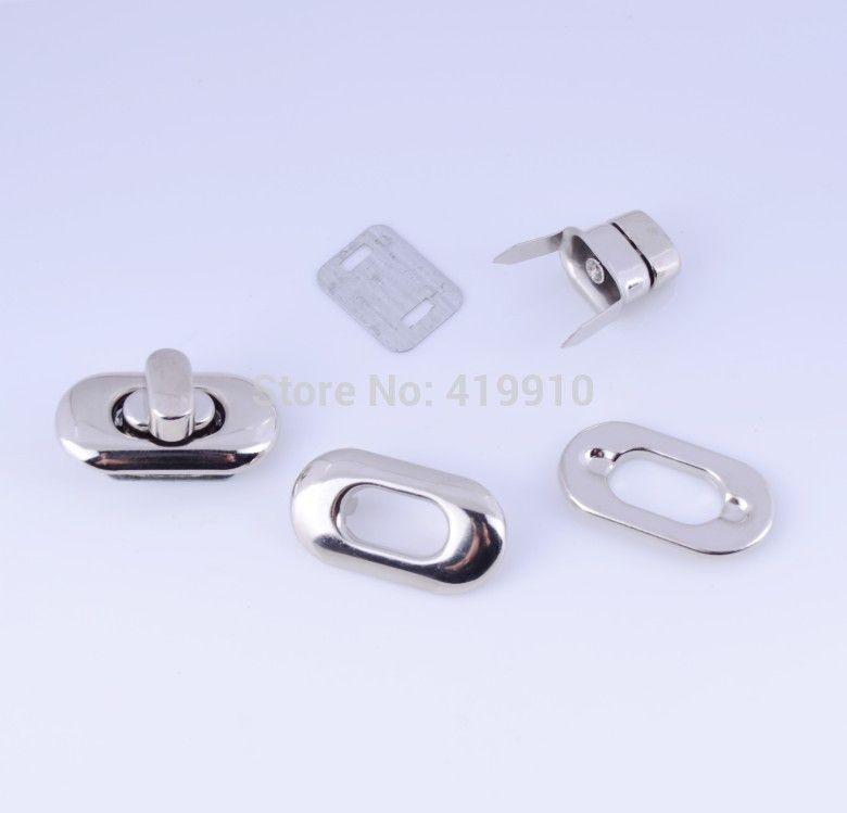 Free Shipping-10 Sets Silver Tone Handbag Bag Accessories Purse Twist Turn Lock 19x35mm J1840