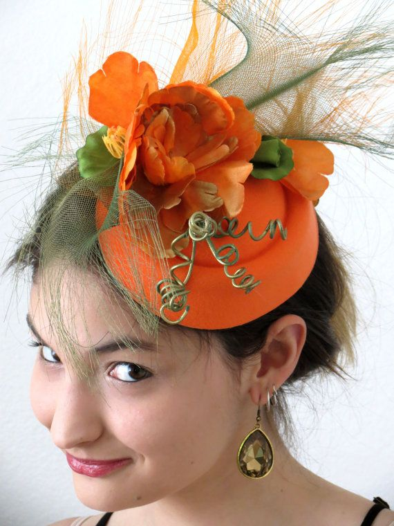 Orange Fascinator Olive Green Golden Hat Lila L