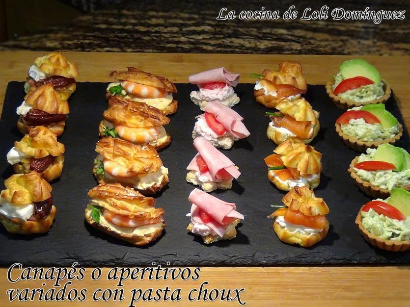 Canap s o aperitivos variados con pasta choux pasta - Como hacer aperitivos frios ...