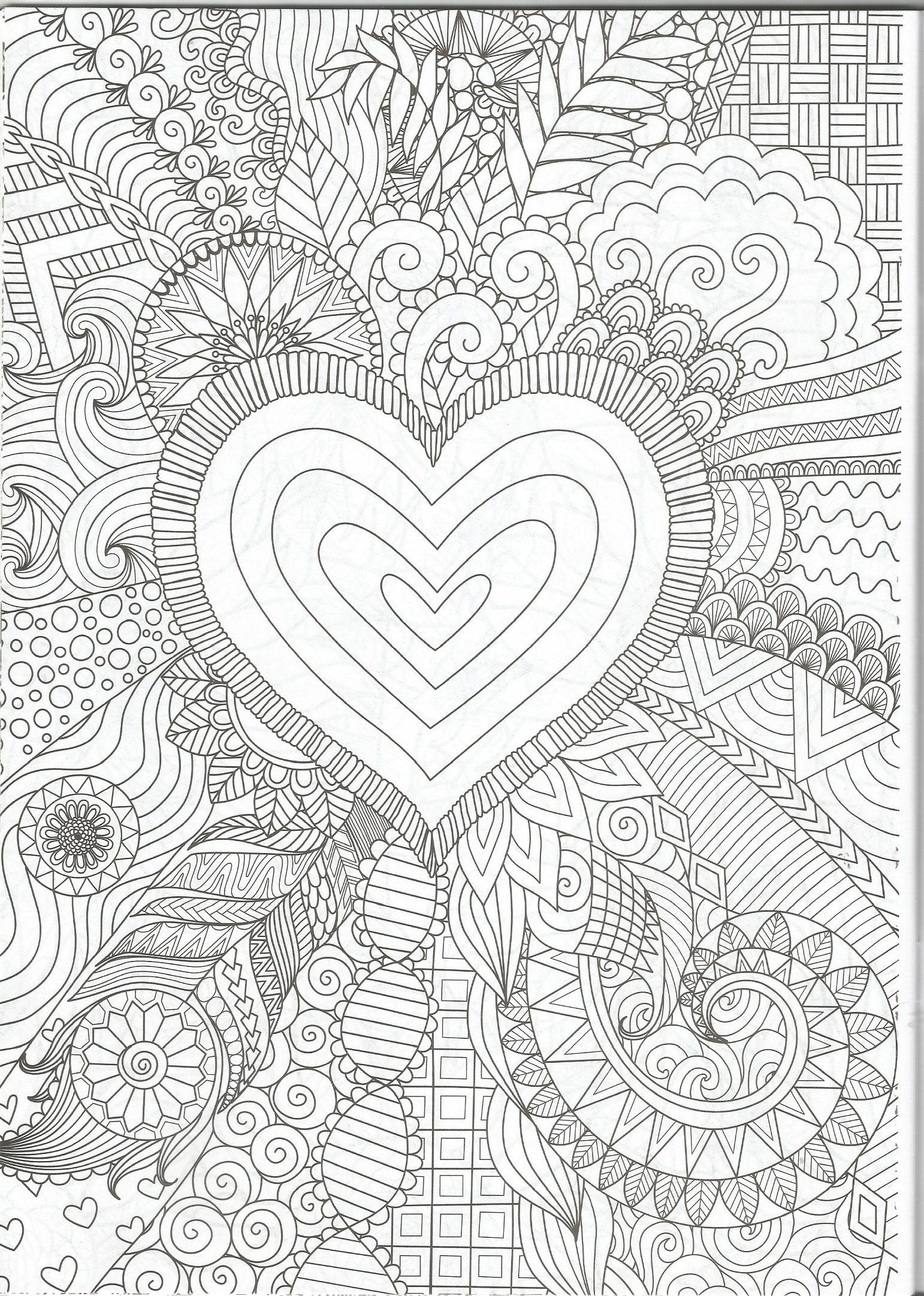 Coloring Page From The Kick Back And Color Floral To Music Volume 3 Coloring Book Love Coloring Pages Heart Coloring Pages Abstract Line Art