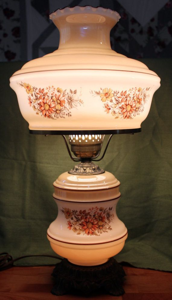 Fall Color Vintage Hurricane Lamp 3 Way Light By EnduringEchoes, $87.00