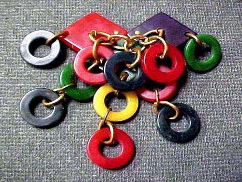 Vintage Large Multi Color Bakelite Ring Disks Dangle Pin