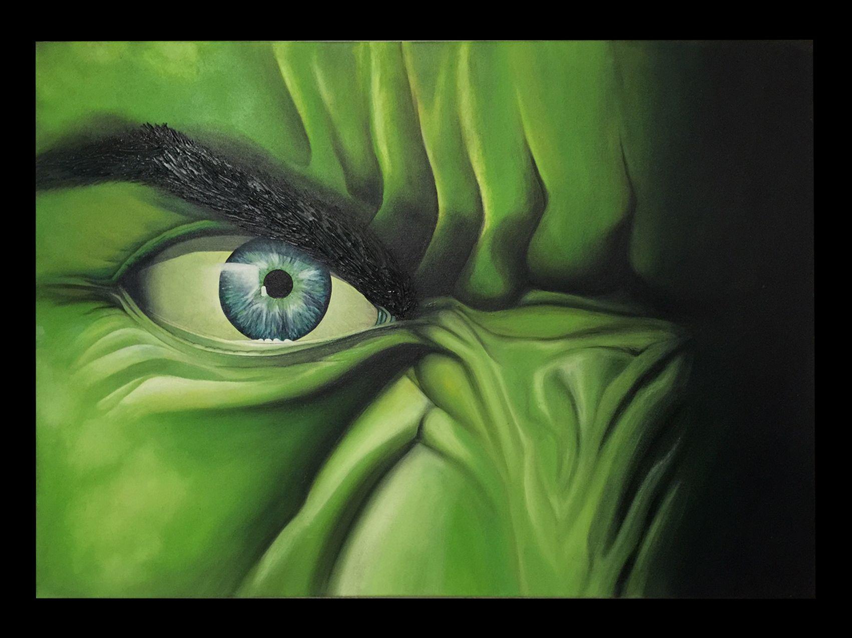 """Tableau du célèbre personnage de dessin animé - """"Hulk"""" - créé par Roselyne Sadassivame"""