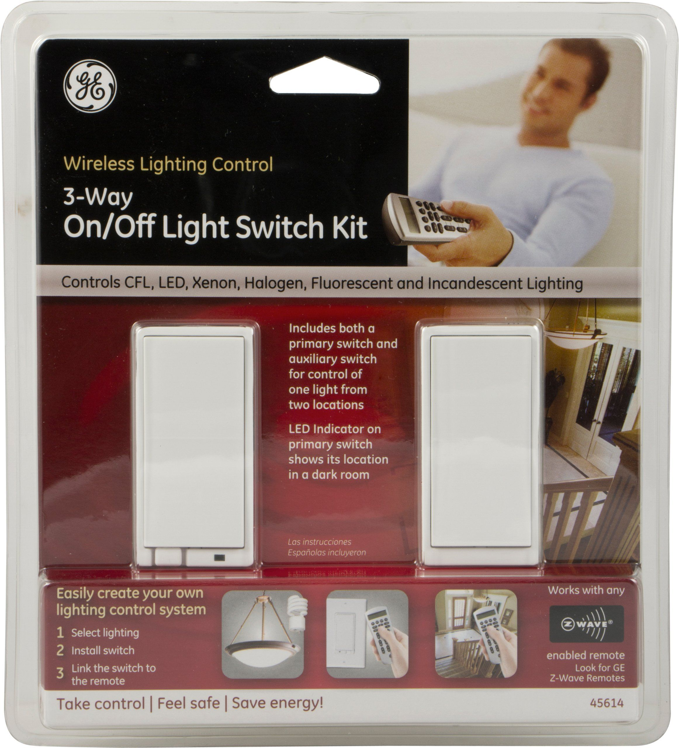 GE ZWave Wireless Lighting Control ThreeWay OnOff Kit Wall