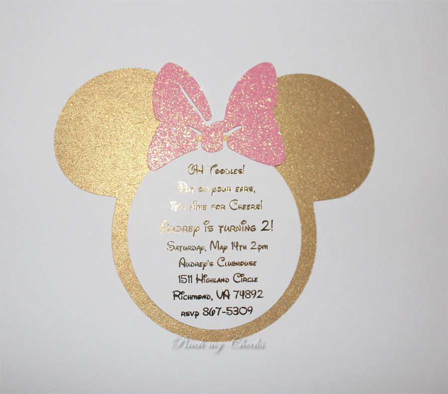 Pink and Gold Minnie Mouse Invitations Light Pink and Gold Foil ...