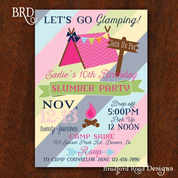 Camping Theme Invitations: Glamping Party Campout Slumber Party Invitation Camping