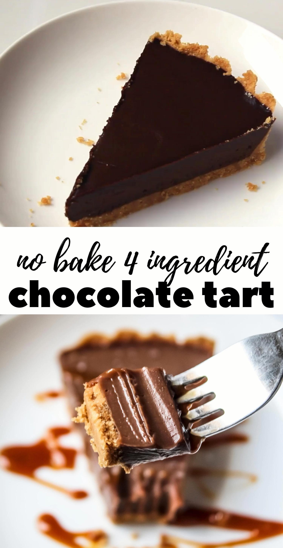 Chocolate tart Best ever 4 ingredient no bake choc