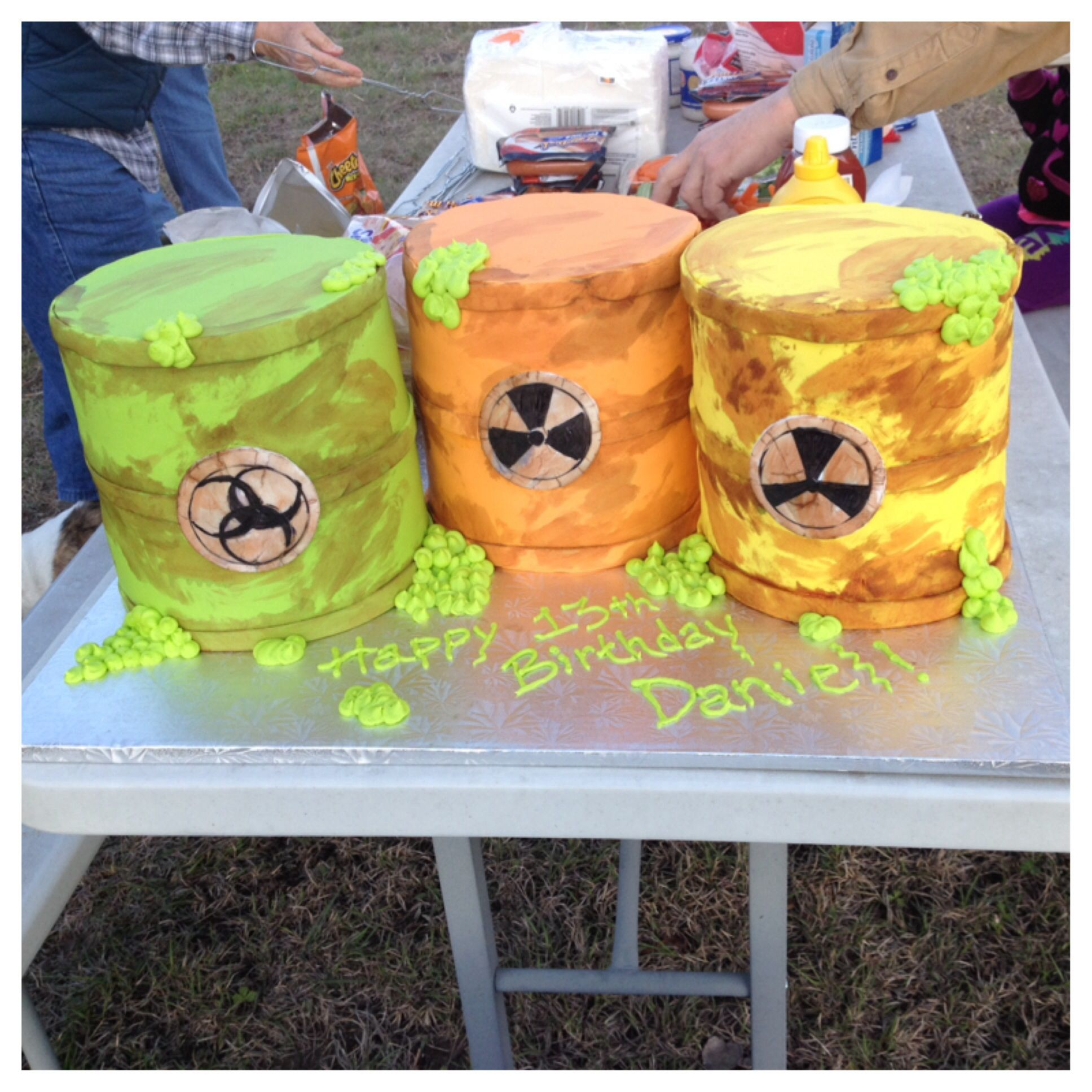 Mad scientist barrels of toxic waste cake