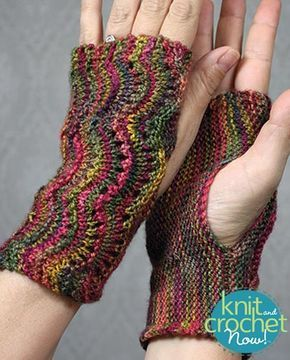 Free knit Scalloped Fingerless Gloves pattern download Design by KCN Design Team Featured in Season 6, episode 9, of Knit and Crochet Now! TV.
