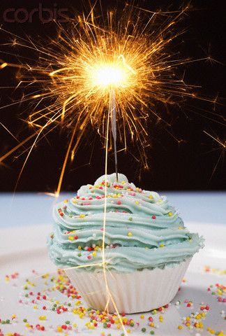 Cupcake With Sparkler Candle Happy Birthday